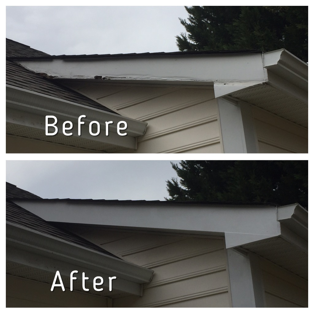 Wood rot repair on fascia trim
