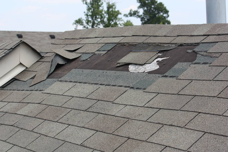 Example of missing roof shingles in need of roof repair