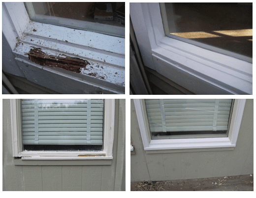 Wood rot repair on window