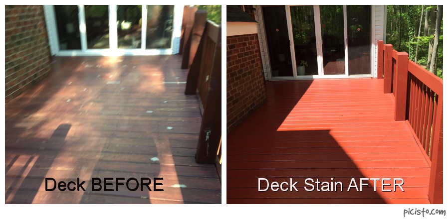 Before and after of deck board stain