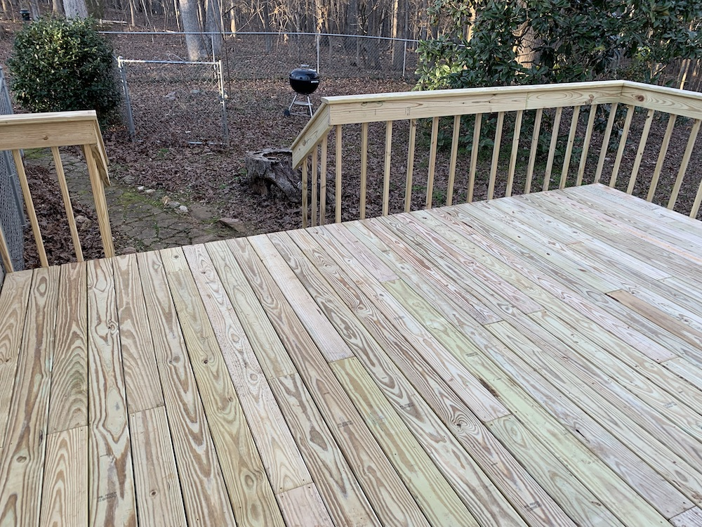 New Treated Deck Boards and Railings Installed in Waxhaw, NC