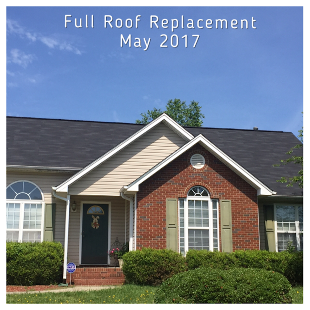 Full roof replacement in Monroe North Carolina using Owens Corning Onyx Black 3-tab shingles.
