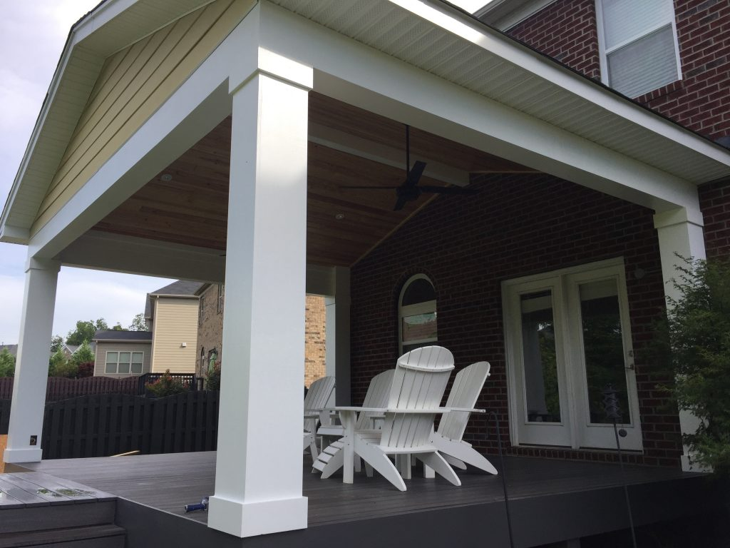 Covered porch project in Concord, NC. Tongue & Groove Ceiling. Composite deck boards. James Hardie Siding.