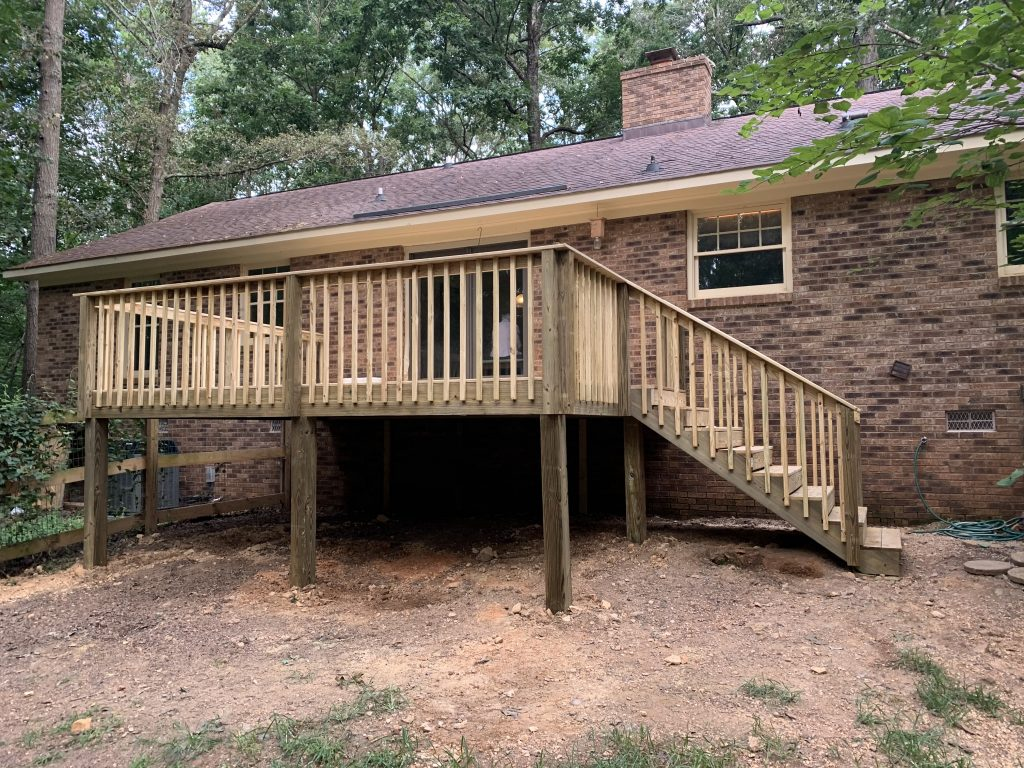 New Treated Wood Deck Installation in Monroe, NC