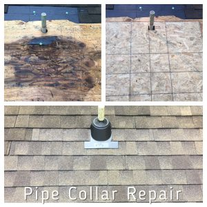 Example of rotten plywood decking caused by leaky vent pipe collar.