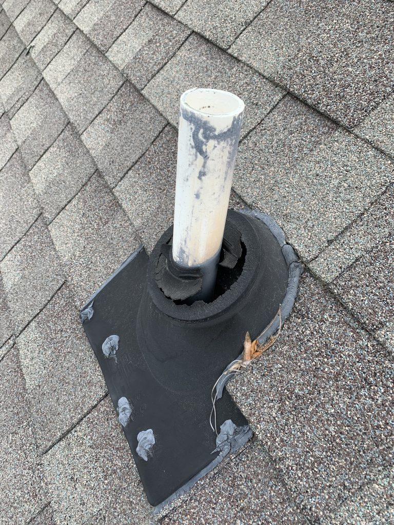 Example of a damaged plumbing vent pipe collar.